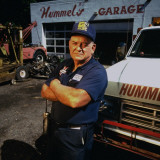 Mechanic Norman Hummel at His Garage Premium Photographic Print by James Keyser