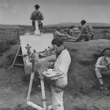 Artist Painting Picture of US Marines Premium Photographic Print by Horace Bristol