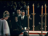 Sargent Shriver and Rose and Joan Kennedy at Coffin of Robert Kennedy, St. Patrick's Cathedral Premium Photographic Print by Bob Gomel