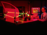 Engineer Using Laser Technology to Analyze Vehicle Vibrations at Ford Advanced Engineering Center Premium Photographic Print by Ted Thai