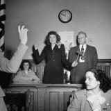 Mayoress Stella Seraphin Being Sworn In Premium Photographic Print by George Skadding