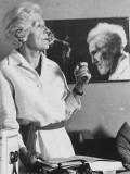 Violinist Olga Rudge with Photograph of Poet Ezra Pound, Photographic Print