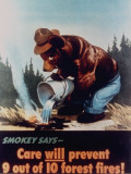 "Poster of Smokey the Bear Putting Out a Forest Fire, ""Care Will Prevent 9 Out of 10 Forest Fires!"" Premium Photographic Print"