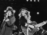 Country Singers Kristine Arnold and Janis Gill Performing in Crossover Concert at the Silverdome Premium Photographic Print by Kevin Winter