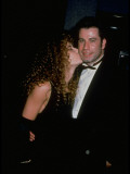 "Kelly Preston Kissing Cheek of Boyfriend John Travolta at Premiere of ""Look Who's Talking Too"" Premium Photographic Print by Kevin Winter"