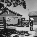 Man with Huckster Wagon Delivering Goods to a Farm Premium Photographic Print by Horace Bristol