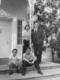 Producer David O. Selznick with Wife Irene and Sons Jeffrey and Daniel Outside of their House Premium Photographic Print by John Florea
