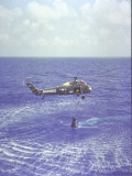 Project Mercury Freedom 7 Capsule and Astronaut Alan Shepard Are Lifted Out of Ocean by Helicopter Premium Photographic Print by Dean Conger