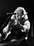 Musician David Crosby Playing Guitar on Stageat at a 32-Act Country-Rock Concert in the Silverdome Premium Photographic Print by Kevin Winter