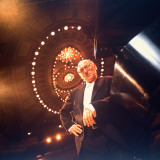 Composer Michael Nyman Leaning on His Piano at Brooklyn Academy of Music Premium Photographic Print by Ted Thai