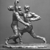 Sculptor Cecil Howard's Sculpture of Boxers Premium Photographic Print by Andreas Feininger