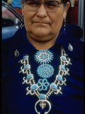 Navajo Woman Modeling Native American Made Turquoise Squash Blossom Necklace, Pins and Earrings Premium Photographic Print by Michael Mauney