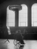 University of California at Los Angeles Paraplegic Richard Coleman Looking around Campus Library Premium Photographic Print by John Florea
