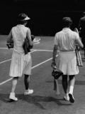 Helen Wills and Helen Jacobs Walking Off Court after the Final Match at the Women's Singles Final Premium Photographic Print by John Phillips