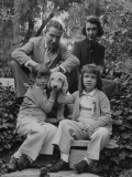 Writer Ogden Nash with His Wife and Daughters and their Pet Terrier Premium Photographic Print by Rex Hardy Jr.