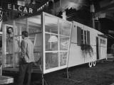 Collapsible Sun Porch on Trailer Featured in Trailer Exhibit Premium Photographic Print by Martha Holmes