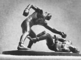 Cecil Howard's Sculpture of a Knockout Between Two Men Boxing Premium Photographic Print by Andreas Feininger