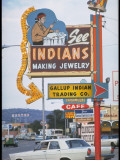 "Electric Sign Reading ""See Indians Making Jewelry"" on Side of Sign-Cluttered Road Premium Photographic Print by Michael Mauney"