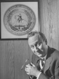 Mayor Charles P. Farnsley Sitting in His Office in Front of the Seal of the Confederacy Premium Photographic Print by Martha Holmes