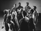 Jose Limon Standing in a Circle with Doris Humphrey and Other Members of His Troupe Premium Photographic Print by Gjon Mili