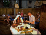 Ministering to Woman Getting Herbal Remedy-Like Treatment, Relaxing at Russian Steambath Premium Photographic Print by Ted Thai