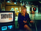 "Laurin Sydney Hosting CNN TV News Show ""Showbiz Today"" on Set, Monitor Showing Bill Clinton Premium Photographic Print by Ted Thai"