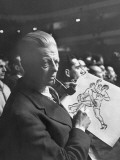 Sculptor Cecil Howard at a Boxing Match Drawing Out His Sculpture of Boxers Premium Photographic Print by Andreas Feininger
