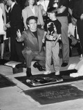 "Child Actor Charlie Korsmo Who Plays ""Kid"" in ""Dick Tracy,"" by a Kneeling Warren Beatty Premium Photographic Print by Albert Ferreira"