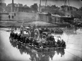 20 Infantrymen, Several Gunners and Artillery Crossing River on Raft, During Civil War Premium Photographic Print by Andrew Joseph Russell