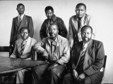Kenya Story: Mau Mau Leader Jomo Kenyatta Posing with Five of His Staff Members During Trial Premium Photographic Print by Alfred Eisenstaedt