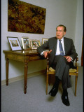 Former President Richard Nixon During Time Interview in His Office Premium Photographic Print by Ted Thai
