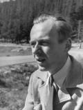 Physicist/Atomic Bomb Detonator Maker Kenneth Griesen Outside Mt. Evans Premium Photographic Print by John Florea