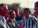 President of Fiat Gianni Agnelli Talking to Soccer Players.;1968 Premium Photographic Print by David Lees