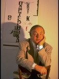 Soviet Poet Andrei Voznesensky Relaxing, Sitting at Chelsea Hotel Premium Photographic Print by Ted Thai