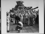 Japanese Prisoner of War Bathing at Basin in Front of Entire USS New Jersey Crew During WWII Premium Photographic Print by Charles Fenno Jacobs