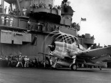 Crew Members on Deck of American Aircraft Carrier, Watching Take-Off of a F6F Hellcat Premium Photographic Print