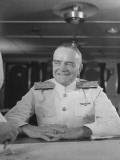 "Close-Up of Admiral William F. Halsey Aboard Aircraft Carrier ""Enterprise"" Premium Photographic Print by Peter Stackpole"