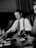 Yankee Baseball Star Joe Dimaggio Playing Casino with Other Players on Train Premium Photographic Print by Carl Mydans