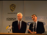 TNT's TedTurner and Time Warner's Gerald Levin Holding News Conference on Planned Merger Premium Photographic Print by Ted Thai