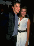 Actress Tiffani-Amber Thiessen with Beau, Actor Brian Austin Green Premium Photographic Print by Kevin Winter