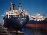 The M.E. Lombardi Docked Next to Esso Oil Tanker Little Rock at Shipyards Premium Photographic Print by Dmitri Kessel