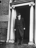 Richard Mulcahey Standing in the Doorway of the Fine Gael Headquarters Premium Photographic Print by Tony Linck