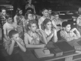 Students Watching the University of Oregon's Human Reproduction Movie by Sy Wexler Premium Photographic Print by J. R. Eyerman