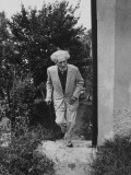 Poet Ezra Pound, 95, Walking Up Outside Stairs at the Side of His Apt. Building Premium Photographic Print by David Lees
