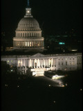 President Reagan's Helicopter Dwarfed by Night-Lit Capitol Building Premium Photographic Print by Ted Thai