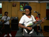 Musician Ziggy Marley Practicing with Band the Melody Makers; Premium Photographic Print by Ted Thai