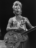 Guitarist for Stray Cats Rock Group Brian Setzer with His Guitar at the Silverdome Premium Photographic Print by Kevin Winter