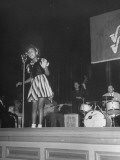 Eleven-Year Old Child Blues Singer Toni Harper Performing on Stage with Band Premium Photographic Print by John Florea