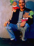 Cartoonist Ray Billingsley Posing with Cut-Outs of His Cartoon Character Curtis Premium Photographic Print by Ted Thai