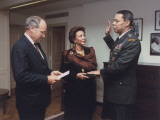 Defense Secretary Dick Cheney Administering Oath of Office to Colin Powell Premium Photographic Print by Helene Stikkel